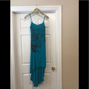 3 for $25 Turquoise high/low tiger dress